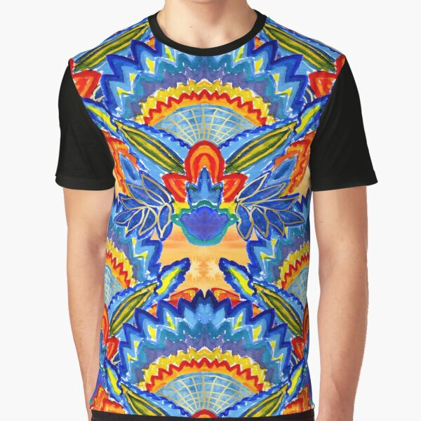 Hand-Painted Abstract Botanical Pattern Brilliant Blue Orange Graphic T-Shirt