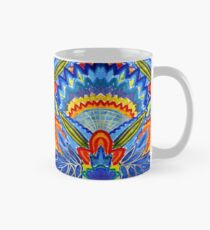 Hand-Painted Abstract Botanical Pattern Brilliant Blue Orange Classic Mug
