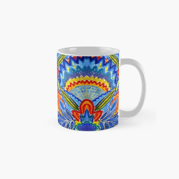 Hand-Painted Abstract Botanical Pattern Brilliant Blue Orange Classic Mug