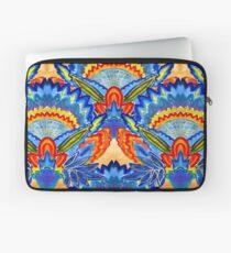 Hand-Painted Abstract Botanical Pattern Brilliant Blue Orange Laptop Sleeve