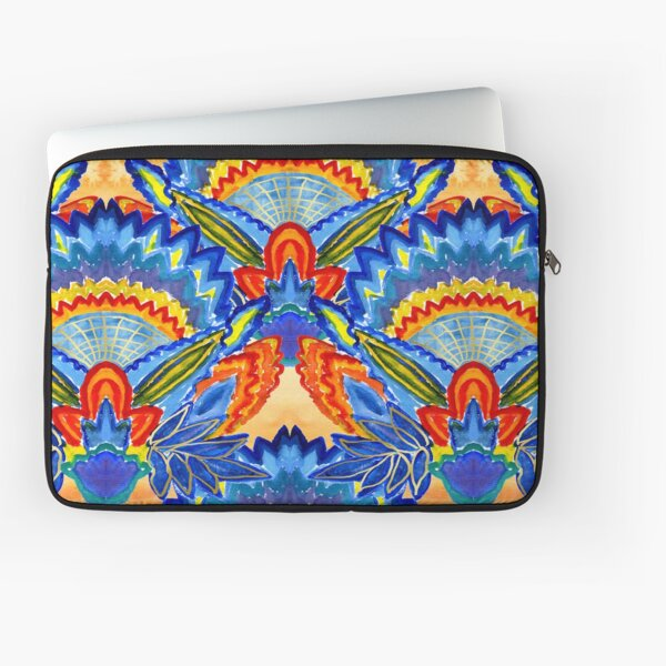 Hand-Painted Abstract Botanical Pattern Brilliant Blue Orange Laptop Sleeve