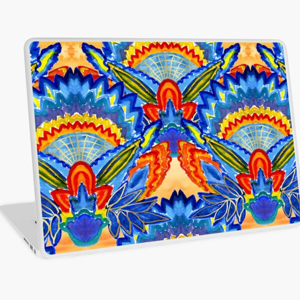 Hand-Painted Abstract Botanical Pattern Brilliant Blue Orange Laptop Skin