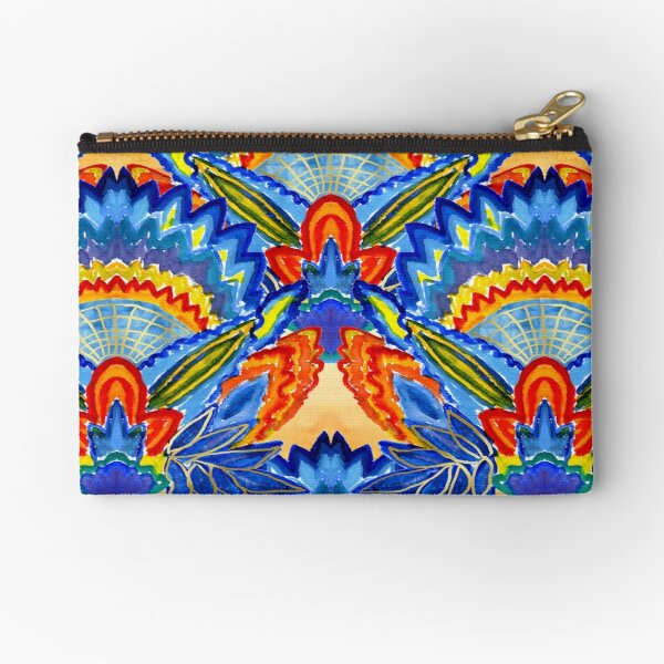 Hand-Painted Abstract Botanical Pattern Brilliant Blue Orange Zipper Pouch