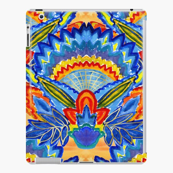 Hand-Painted Abstract Botanical Pattern Brilliant Blue Orange iPad Snap Case