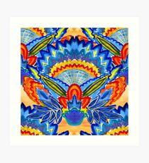 Hand-Painted Abstract Botanical Pattern Brilliant Blue Orange Art Print