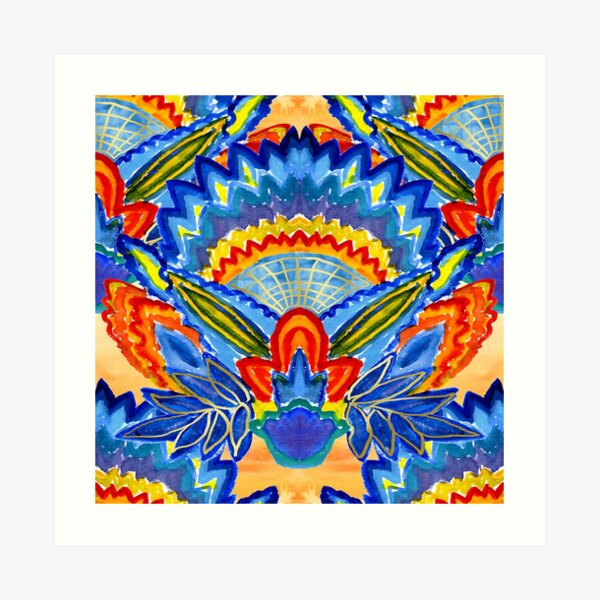 Hand-Painted Abstract Botanical Pattern Brilliant Blue Orange Art Print