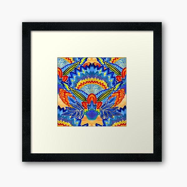 Hand-Painted Abstract Botanical Pattern Brilliant Blue Orange Framed Art Print
