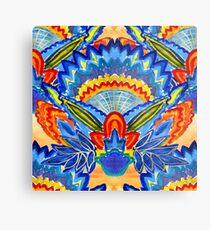 Hand-Painted Abstract Botanical Pattern Brilliant Blue Orange Metal Print