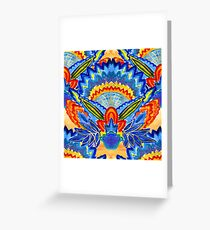 Hand-Painted Abstract Botanical Pattern Brilliant Blue Orange Greeting Card