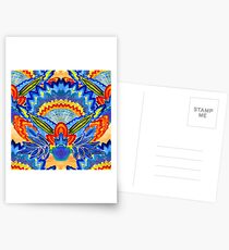Hand-Painted Abstract Botanical Pattern Brilliant Blue Orange Postcards