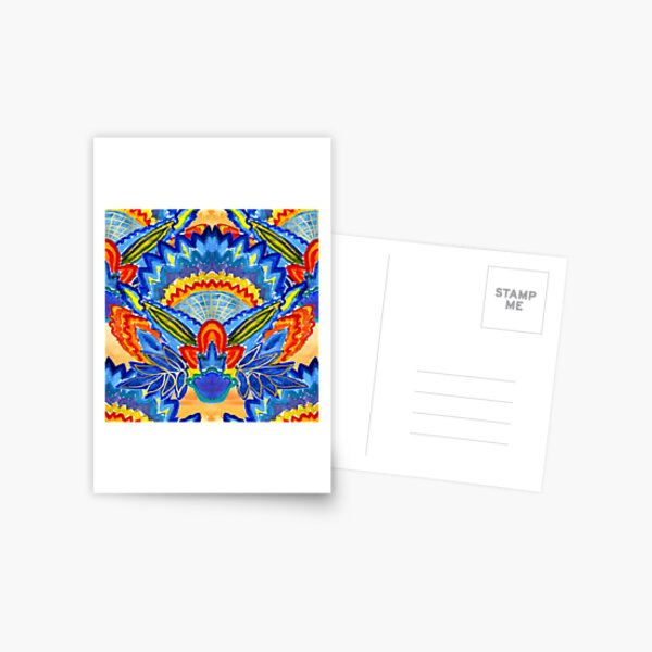 Hand-Painted Abstract Botanical Pattern Brilliant Blue Orange Postcard