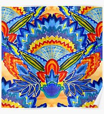 Hand-Painted Abstract Botanical Pattern Brilliant Blue Orange Poster