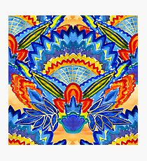 Hand-Painted Abstract Botanical Pattern Brilliant Blue Orange Photographic Print