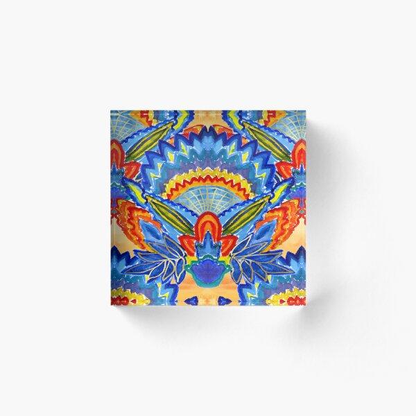 Hand-Painted Abstract Botanical Pattern Brilliant Blue Orange Acrylic Block