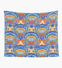 Hand-Painted Abstract Botanical Pattern Brilliant Blue Orange Wall Tapestry