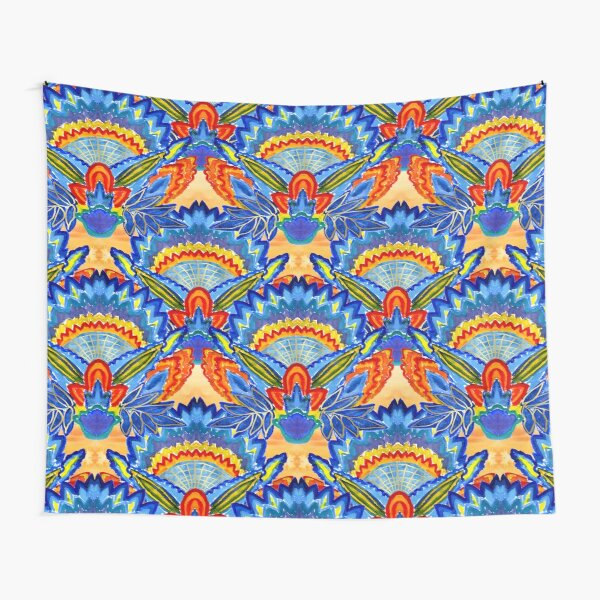 Hand-Painted Abstract Botanical Pattern Brilliant Blue Orange Tapestry