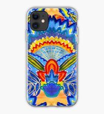 Hand-Painted Abstract Botanical Pattern Brilliant Blue Orange iPhone Case