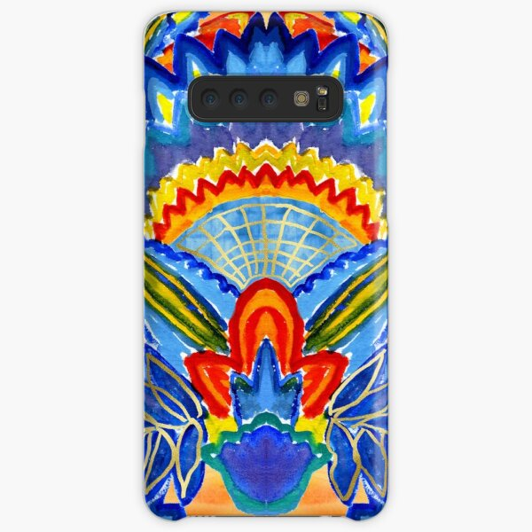 Hand-Painted Abstract Botanical Pattern Brilliant Blue Orange Samsung Galaxy Snap Case