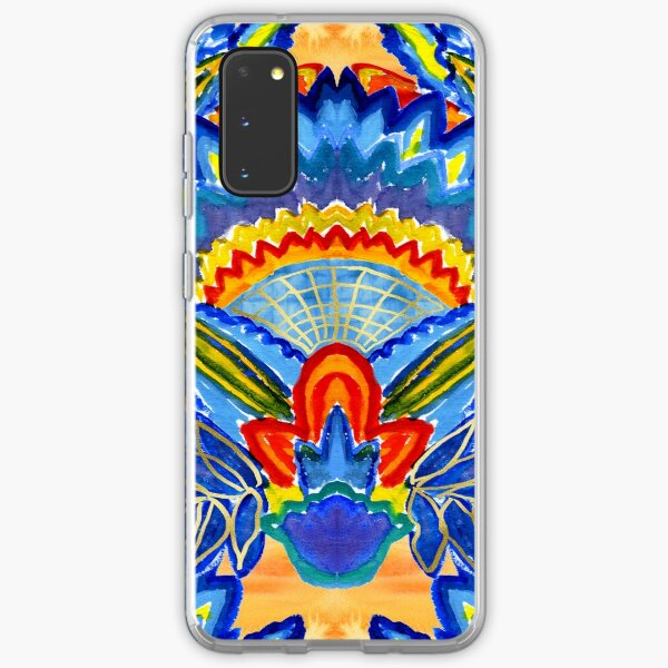 Hand-Painted Abstract Botanical Pattern Brilliant Blue Orange Samsung Galaxy Soft Case