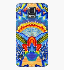 Hand-Painted Abstract Botanical Pattern Brilliant Blue Orange Case/Skin for Samsung Galaxy