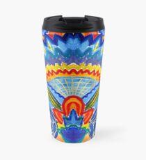 Hand-Painted Abstract Botanical Pattern Brilliant Blue Orange Travel Mug