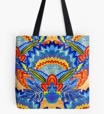 Hand-Painted Abstract Botanical Pattern Brilliant Blue Orange Tote Bag