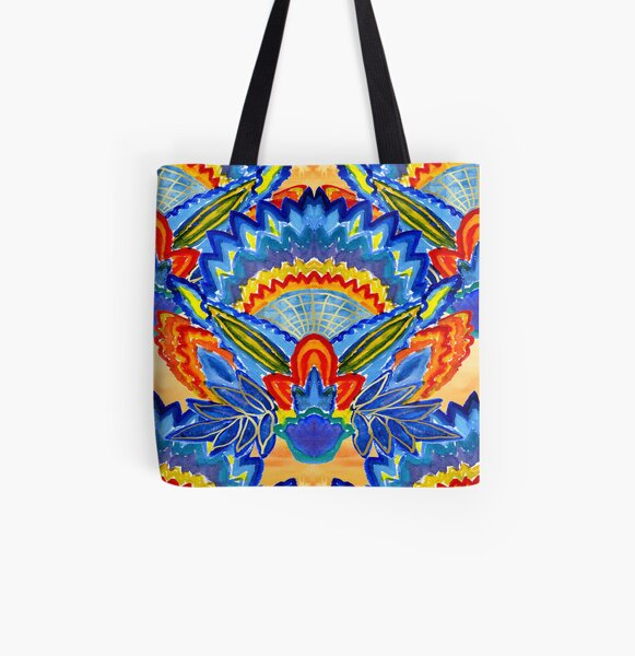 Hand-Painted Abstract Botanical Pattern Brilliant Blue Orange All Over Print Tote Bag