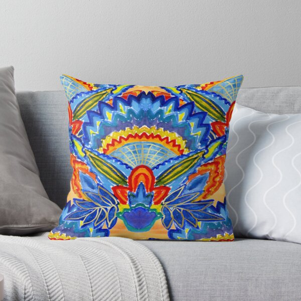 Hand-Painted Abstract Botanical Pattern Brilliant Blue Orange Throw Pillow