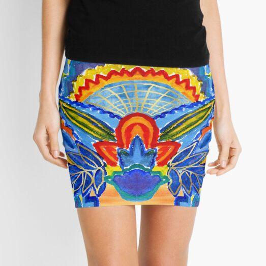 Hand-Painted Abstract Botanical Pattern Brilliant Blue Orange Mini Skirt