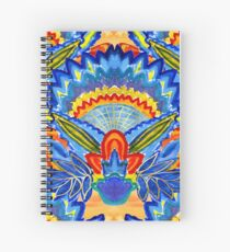 Hand-Painted Abstract Botanical Pattern Brilliant Blue Orange Spiral Notebook
