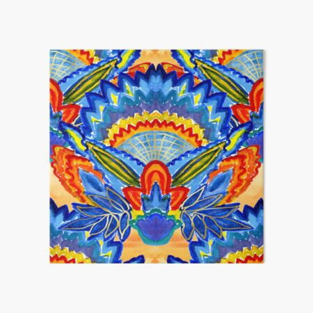Hand-Painted Abstract Botanical Pattern Brilliant Blue Orange Art Board Print