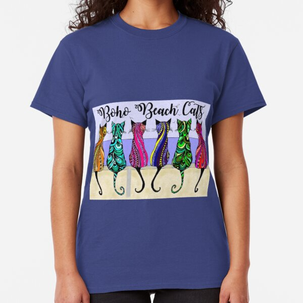 Boho Beach Cats Classic T-Shirt