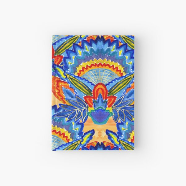 Hand-Painted Abstract Botanical Pattern Brilliant Blue Orange Hardcover Journal