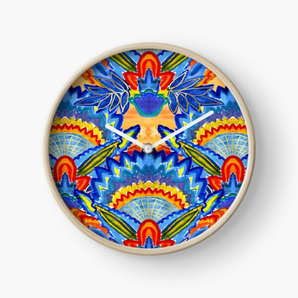 Hand-Painted Abstract Botanical Pattern Brilliant Blue Orange Clock