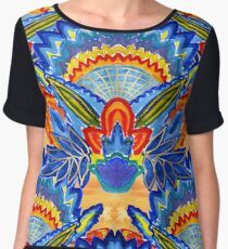 Hand-Painted Abstract Botanical Pattern Brilliant Blue Orange Chiffon Top