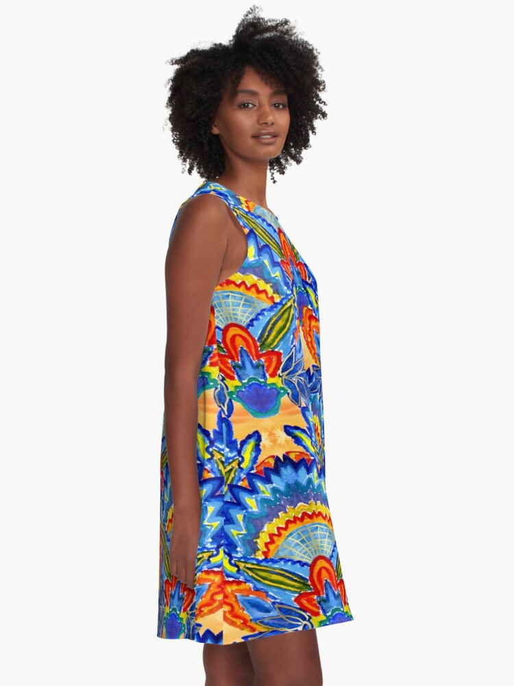 Alternate view of Hand-Painted Abstract Botanical Pattern Brilliant Blue Orange A-Line Dress