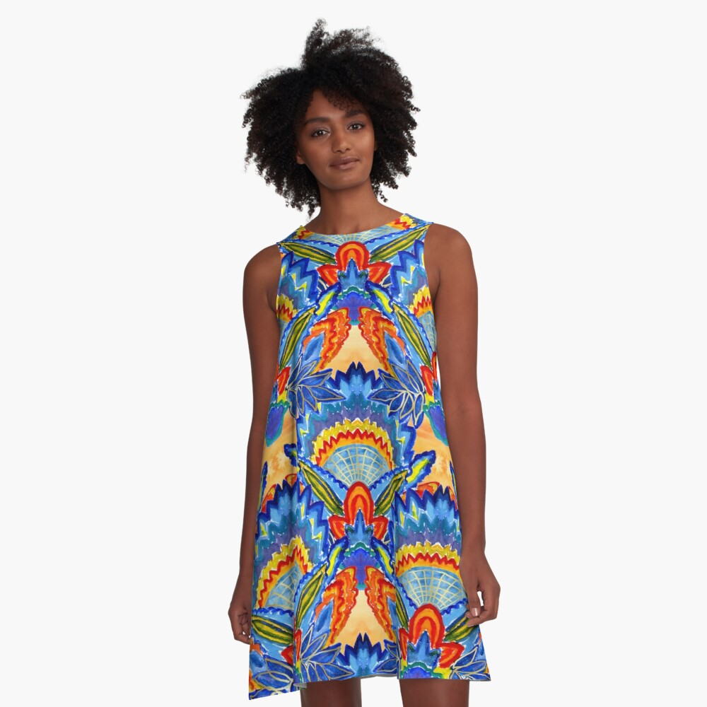 Hand-Painted Abstract Botanical Pattern Brilliant Blue Orange A-Line Dress