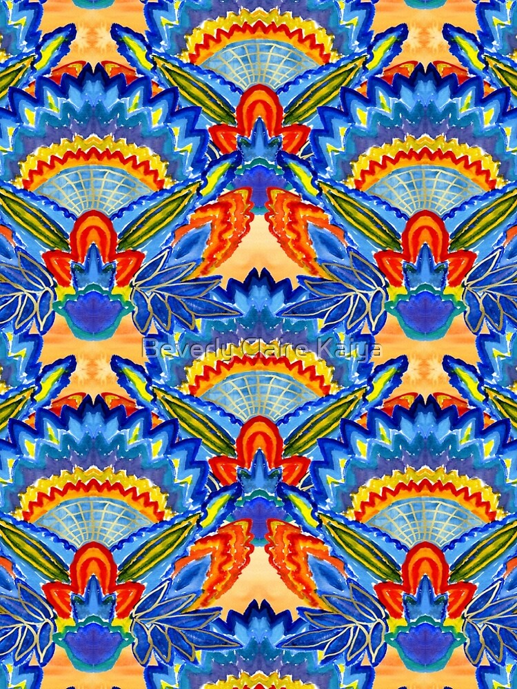 Hand-Painted Abstract Botanical Pattern Brilliant Blue Orange by beverlyclaire