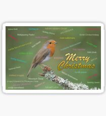 Merry christmas card in different languages Sticker