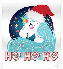 Ho Ho Ho Christmas Unicorn Poster