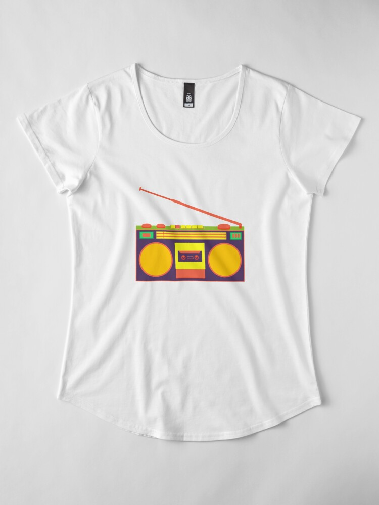 Alternate view of boombox - old cassette - Devices Premium Scoop T-Shirt