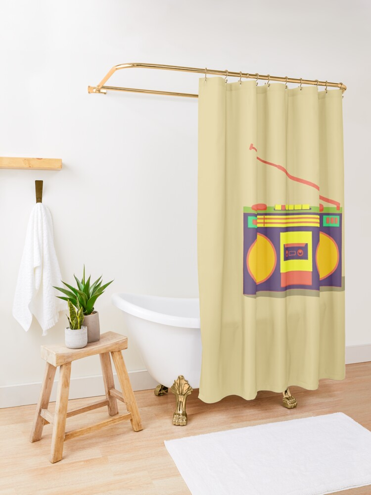 Alternate view of boombox - old cassette - Devices Shower Curtain