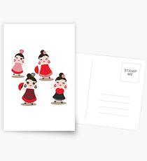 Flamenco dancers on black Postcards