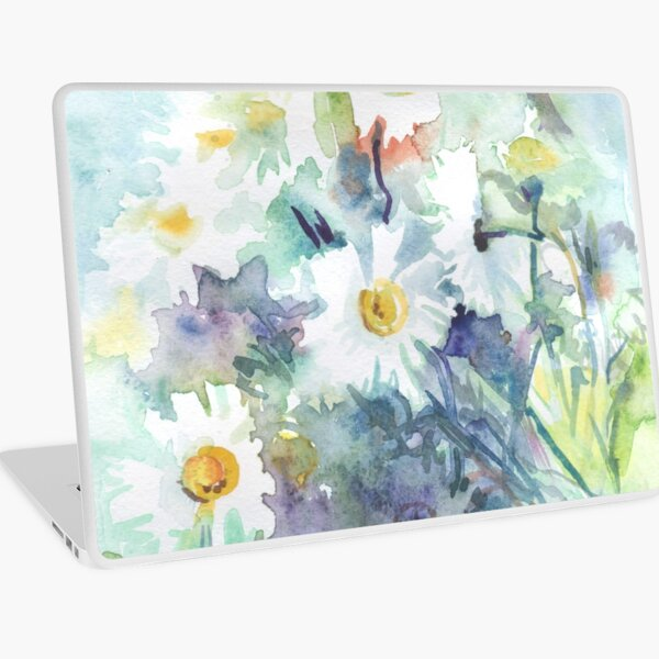 Watercolour daisies watercolor drawing - white daisies on a blue and green background, beautiful bouquet, painting Laptop Skin