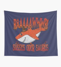 Orangener Halloween Hai: Raawr! Süßes Oder Saures! Wandbehang