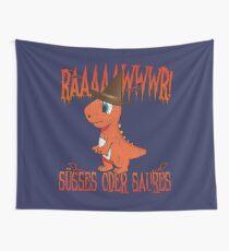 Orangener Halloween Dino: Rawr! Süßes Oder Saures! Wandbehang