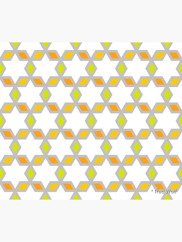 Geometric Pattern: Hexagon Star Diamond: White by redwolfoz