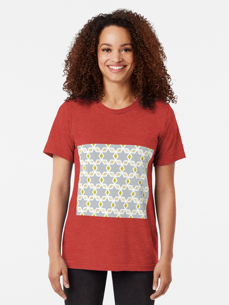 Alternate view of Geometric Pattern: Hexagon Star Diamond: Grey Tri-blend T-Shirt
