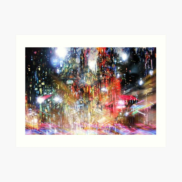 Night scene: a twirling, shimmering daze Art Print