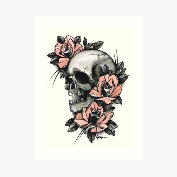 Skull and Roses Art Print
